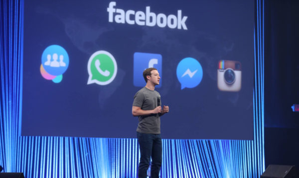 Facebook CEO Mark Zuckerberg talks to the crowd at the F8 annual developer conference. Photo: Facebook
