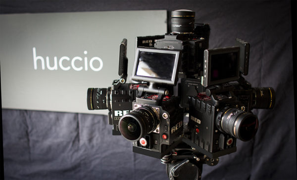 Huccio's custom-built 42K camera rig, made up of Red Dragon cameras. Photo: Huccio
